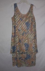 Patra Peach Olive Dusty Blue Geo Dress 16 Plus